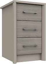 Lancaster 3 Drawer Bedside Table - Grey