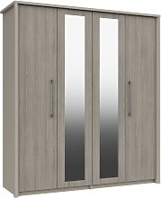 Lancaster 4 Door 2 Mirror Wardrobe - Grey