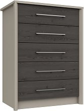 Lancaster 5 Drawer Chest - Dark Grey