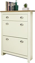 Lancaster Two Tier 1 Drawer Shoe Cabinet - Cream