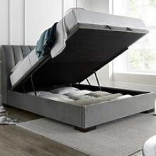 Lanchester Grey Plume Velvet Ottoman Bed Frame -