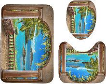 Landscape Print Bathroom Shower Curtain Set Toilet