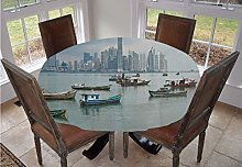 Landscape Round Tablecloth,Anchored Fishing Boats