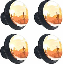 Landscape with Desert and Cactus Round Drawer Knob