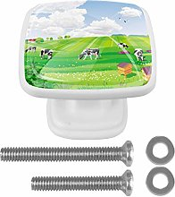 Landscape with Fields Cow Drawer Knob for Home