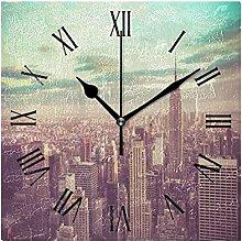 Landscape Wood Wall Clock, Silent Non Ticking