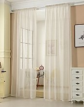 Laneetal Sheer Curtain Cream Woven Voile Rod