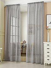 Laneetal Sheer Curtain Dark Grey Woven Voile Rod