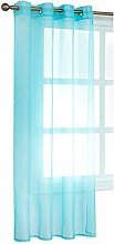 Laneetal Sheer Curtain Turquoise Woven Voile