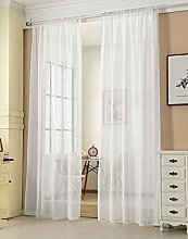 Laneetal Sheer Curtain White Woven Voile Rod