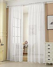 Laneetal Woven Voile Sheer Curtains Rod Pocket