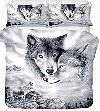 Langde Duvet Cover Set Wolves, Nordic Quilt Cover