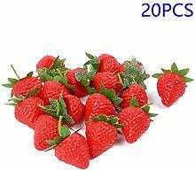 LANGPIAOEZU Realistic 20Pcs Artificial Strawberry