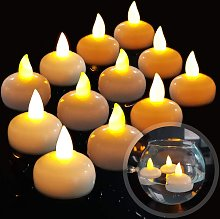 LangRay 12 LED Floating Flameless Candle, Waterproof Battery Flickering LED Tea Lights Float on Water for Wedding, Party, Centerpiece, Pool & Spa (Warm White)