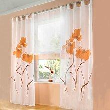 LangRay 2 Piece Curtain Scarf Flower Print Curtain
