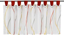 LangRay Disc curtain bistro curtain in transparent voile with buckles wave pattern H / L 30/90 cm colored red