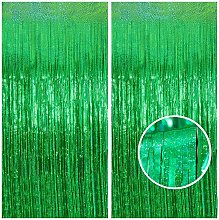 LangRay Gold Foil Curtain, 2 Pack, 3.2ft x 8.2ft.
