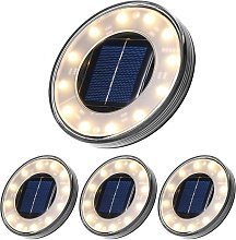 LangRay LED Solar Floor Lamp 4 Pack, 12 LEDs Solar