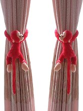 LangRay Monkey Red Watermelon Red Nursery Curtain