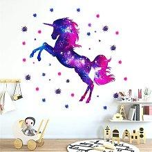 LangRay Nursery Wall Decal, Unicorn Starry Sky
