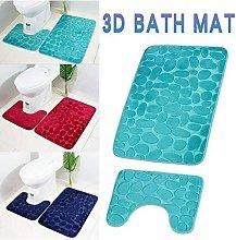Langray - Set of 2 Anti Slip Bath Mat and Pedestal