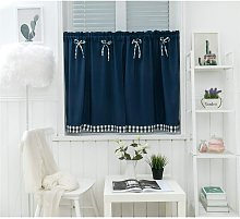 LangRay Small Vintage Country Style Short Window Curtain Opaque Disc Curtains Short Curtain Short Curtain Modern Kitchen Curtain Plaid Set of 2 Living Room (Dark Blue 137 * 61cm)