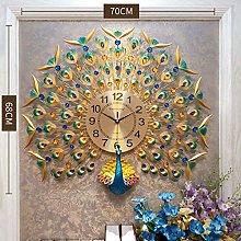 LANGSHI Peacock wall clock crystal wall clock home