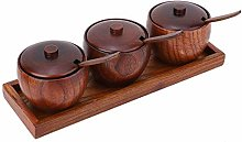 Lankater 1 Set Wood Spice Jar, Sugar Bowl Salt