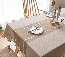 Lanqinglv Beige Cotton Linen Tablecloth 140x240cm