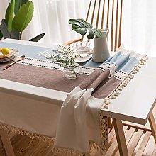 Lanqinglv Borwn-Blue Cotton Linen Tablecloth