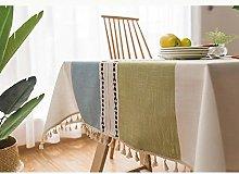 Lanqinglv Green-Blue Cotton Linen Tablecloth