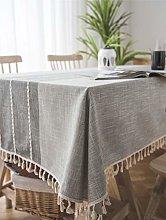 Lanqinglv Grey Cotton Linen Tablecloth 110x170cm