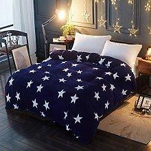 Lanqinglv Navy Blue Flannelette Star Duvet Cover