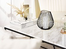Lantern Black and Gold Metal 22 cm with Glass