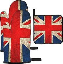 LAOLUCKY Oven Mitts and Potholder Set Union Jack