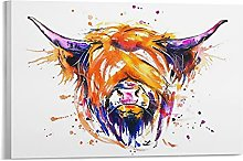 laoya Scottish Highland Cow Canvas Art Poster and