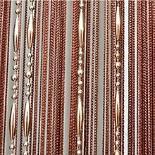 LAPOPNUT Beaded String Hanging Curtain with Dew Drop Plastic Beads Chain Panels Fringe Tassel for Partition Spaces Divider Door Wall Wedding Decor Home Decoration Curtains (100x200cm,Brown)