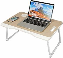 Laptop Bed Table, Foldable Lap Desk with Slot, Bed