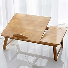 Laptop Tray Desk,Bamboo Material Height Adjustable