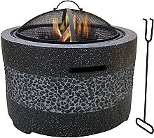 Large 3 in 1 Fire Pit with Grill Shelf, Edging