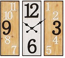 Large 3 Panel Metal & Wooden Wall Clock