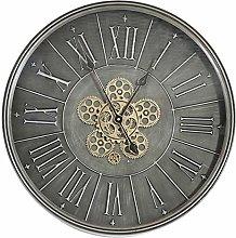 Large 60cm Wall Clock Dark Grey Chrome Metal