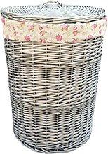 Large Antique Wash Round Linen Basket With Garden
