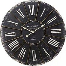 Large Antiqued Black Kensington Station Wall Clock