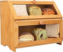 Large Bamboo Bread Bin for Kitchen Countertop