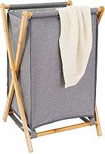Large Bamboo Laundry Basket Gray Durable Cloth