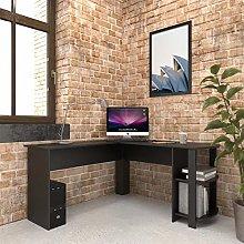 Large Black Corner Desk with shelves for Home