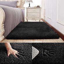 Large Black Non-Slip Shaggy Plain Floor Mat Soft