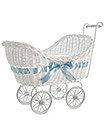 Large Boys Girls Baby Pram Hamper Wicker Basket