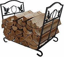 Large Capacity Fireplace Log Holder Wrought Iron